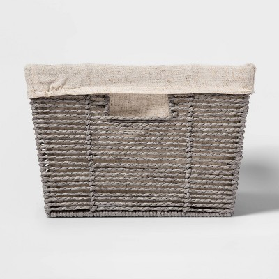 "8""x12"" Twisted Paper Rope Large Tapered Basket Gray - Threshold™"