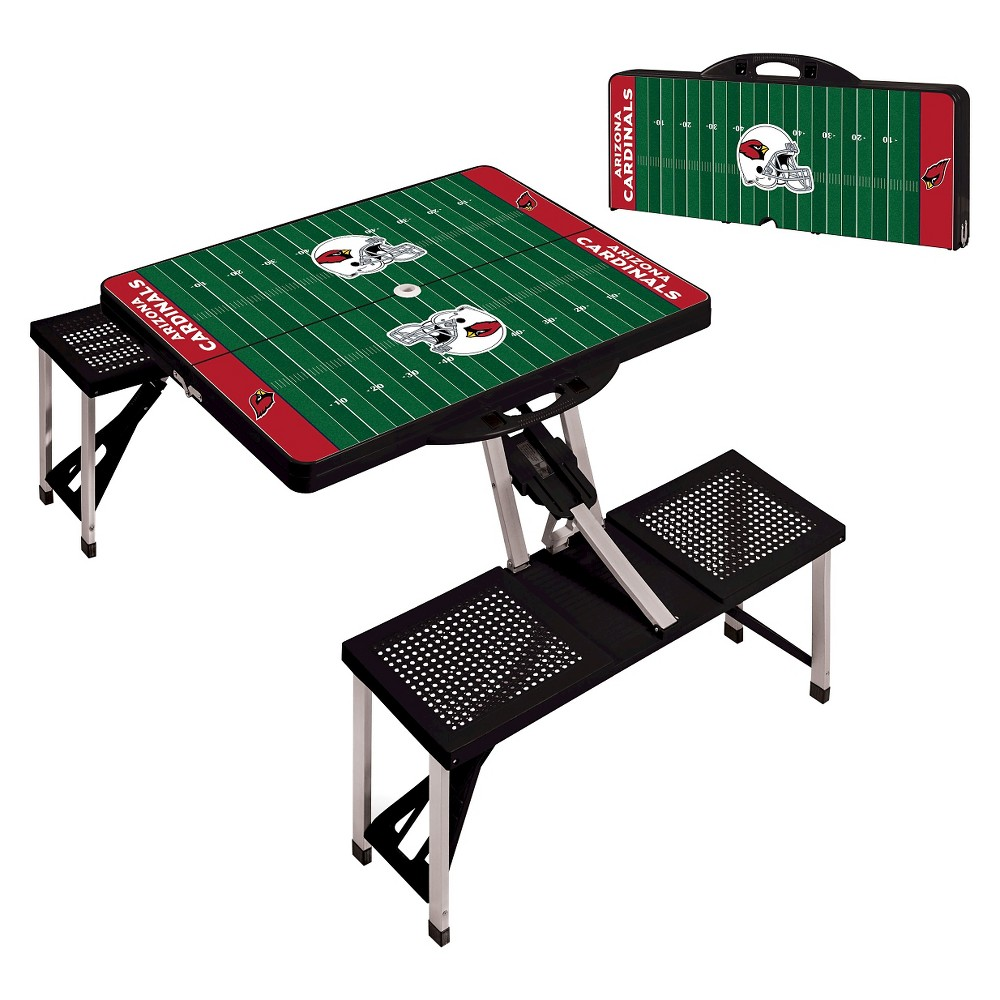Arizona Cardinals Portable Picnic Table with Sports Field Design by Picnic Time - Black