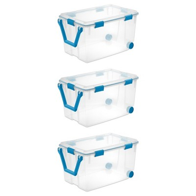 Sterilite 19434303 120 Quart Clear Plastic Storage Container Box and Lid with Blue Latches and Wheels (3 Pack)