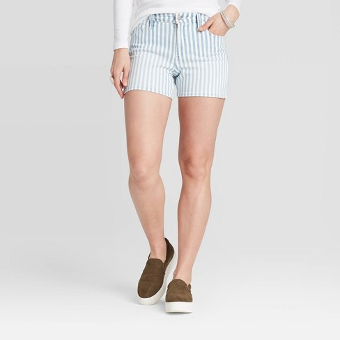 Women's High-Rise Stripped Jean Shorts - Universal Thread™ Light Blue - image 1 of 3