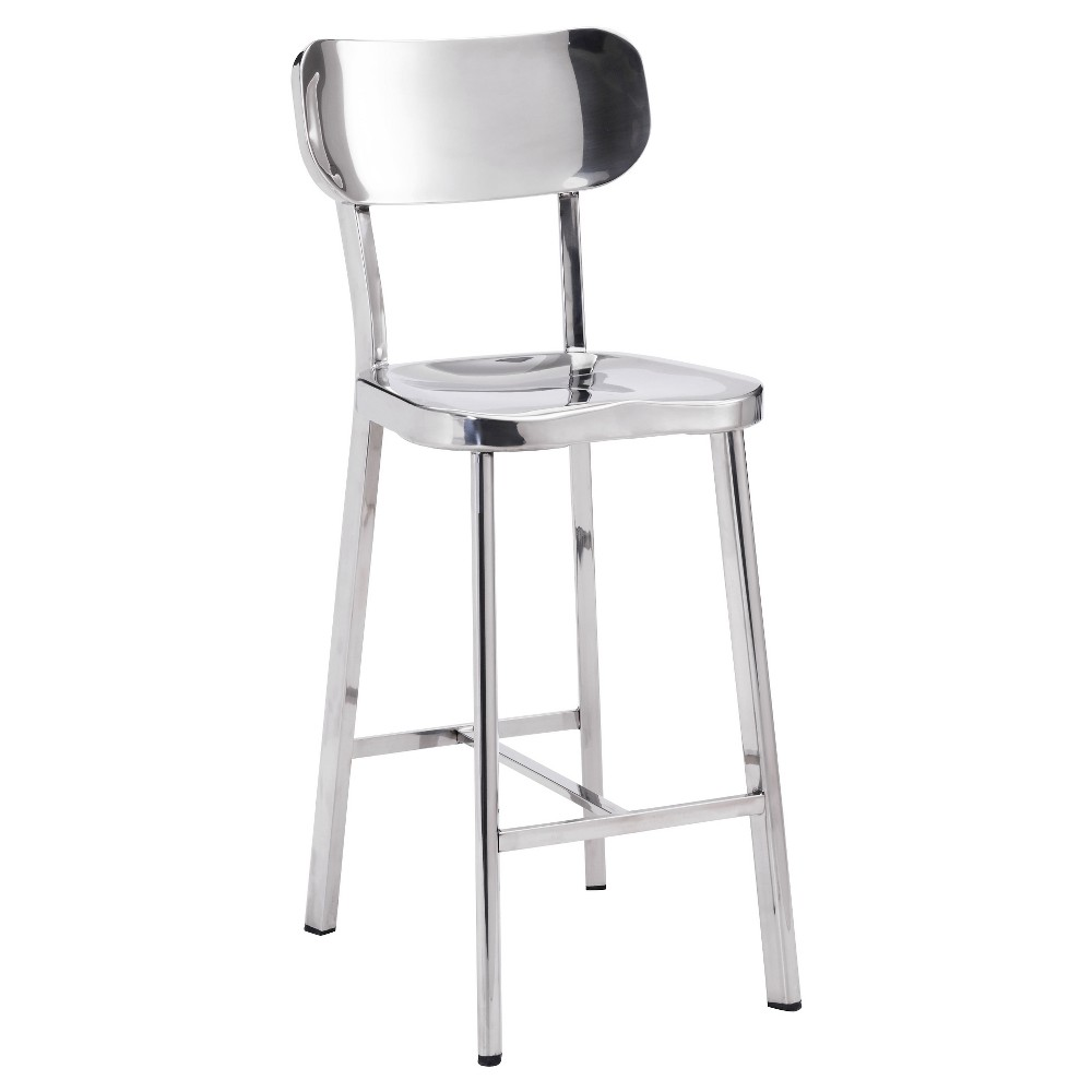 24.4 Classic Modern Counter Chair - Stainless Steel (Set of 2) - ZM Home