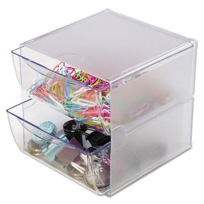 Deflecto Two Drawer Cube Organizer Clear Plastic 6 x 7-1/8 x 6 350101
