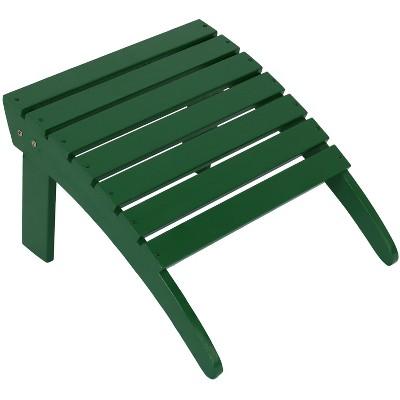 Sunnydaze Outdoor Classic Natural Fir Wooden Backyard Patio Adirondack Style Ottoman Footrest - Green