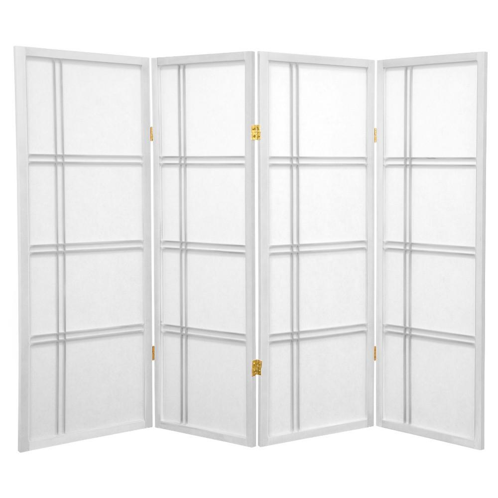 Image of 4 ft. Tall Double Cross Shoji Screen - White (4 Panels) - Oriental Furniture