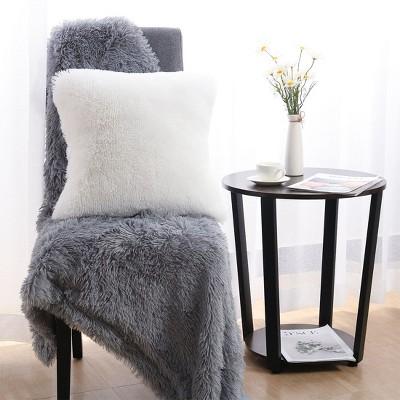 "1 Pc 18"" x 18"" Polyester Fuzzy Decorative Pillow Cover Snow White - PiccoCasa"