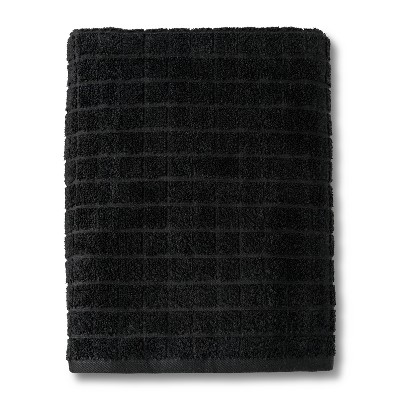 Grid Texture Bath Towel Black - Room Essentials™