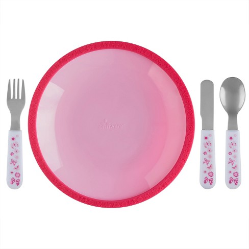 5pc Silicone Plate and Utensil Set Pink - Brinware - image 1 of 3