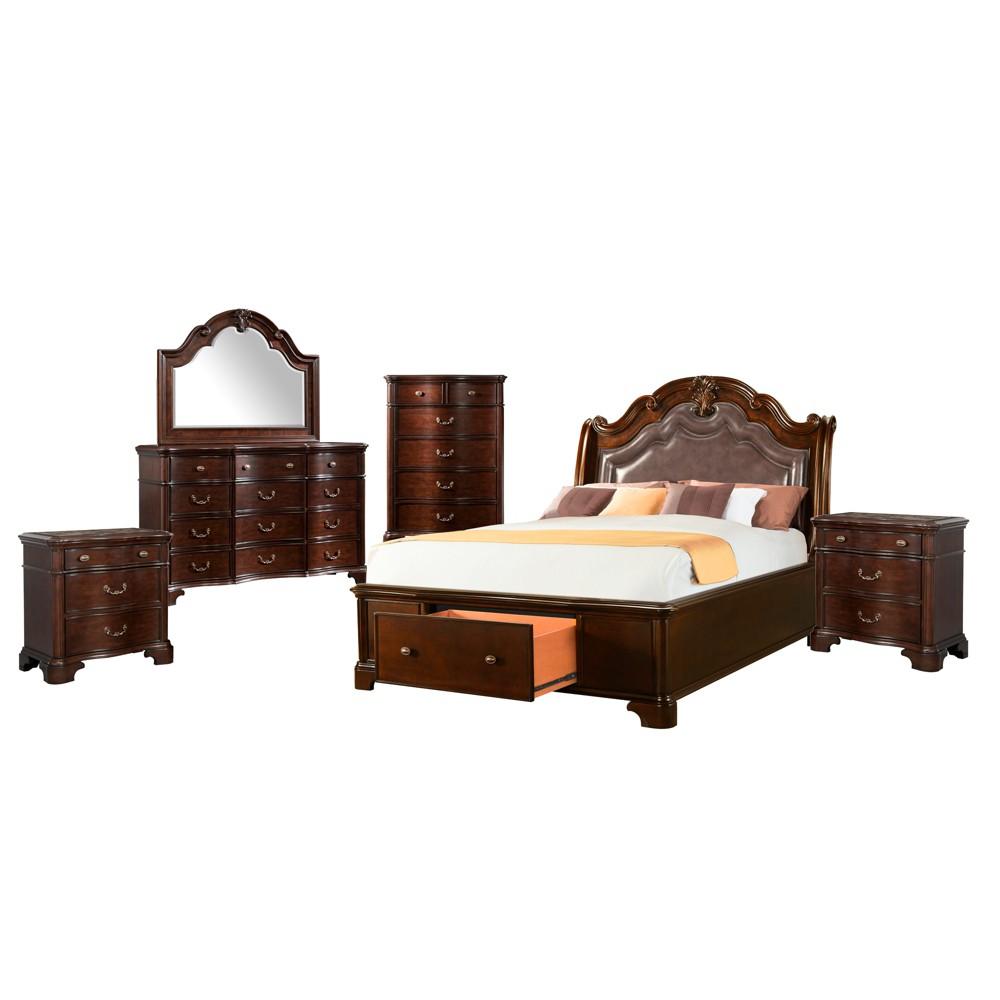 6pc Tomlyn King Storage Bedroom Set Dark Cherry - Picket House Furnishings, Beige