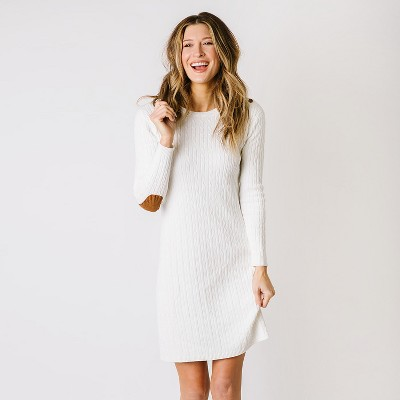 Hope & Henry Women's Fine Cable Sweater Dress with Elbow Patches