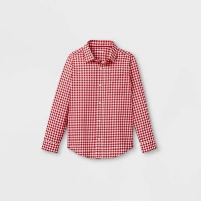 Boys' Woven Long Sleeve Button-Down Shirt - Cat & Jack™ Red