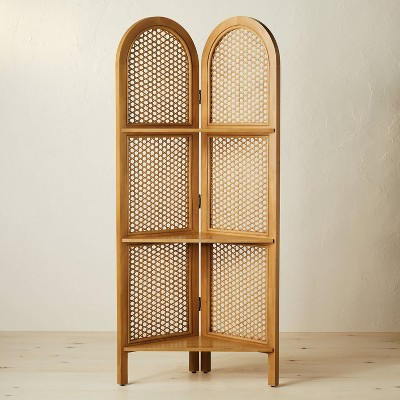"""67"""" Anza Caned Corner Bookshelf Brown - Opalhouse™ designed with Jungalow™"""