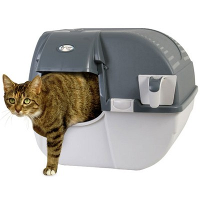 Omega Paw Easy Fill Roll n Clean No Scoop Self Cleaning Rollover Litter Box for Large or Multiple Cat Households, Light and Dark Gray