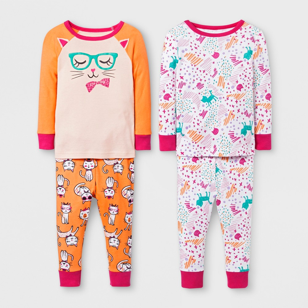 Baby Girls' Kitty 4pc Pajama Set - Cat & Jack Orange 18M