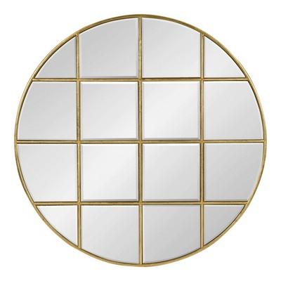 "30"" Denault Round Windowpane Wall Mirror Gold - Kate and Laurel"