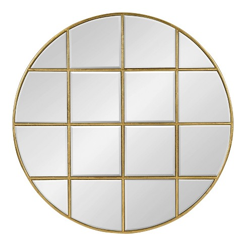 "30"" Denault Round Windowpane Wall Mirror Gold - Kate and Laurel - image 1 of 4"