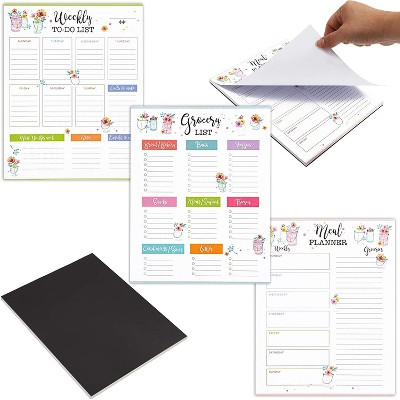 Set of 3 Magnetic Notepad Note Pads, Weekly to-Do-List, Grocery List & Meal Planner in Floral Designs, 9.5 x 7.5 inches