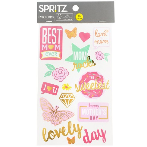 16ct Mother's Day Stickers - Spritz™ - image 1 of 3