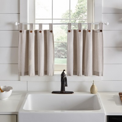 Tucker Ticking Stripe Button Tab Top Window Kitchen Tier Set of 2 - Elrene Home Fashions
