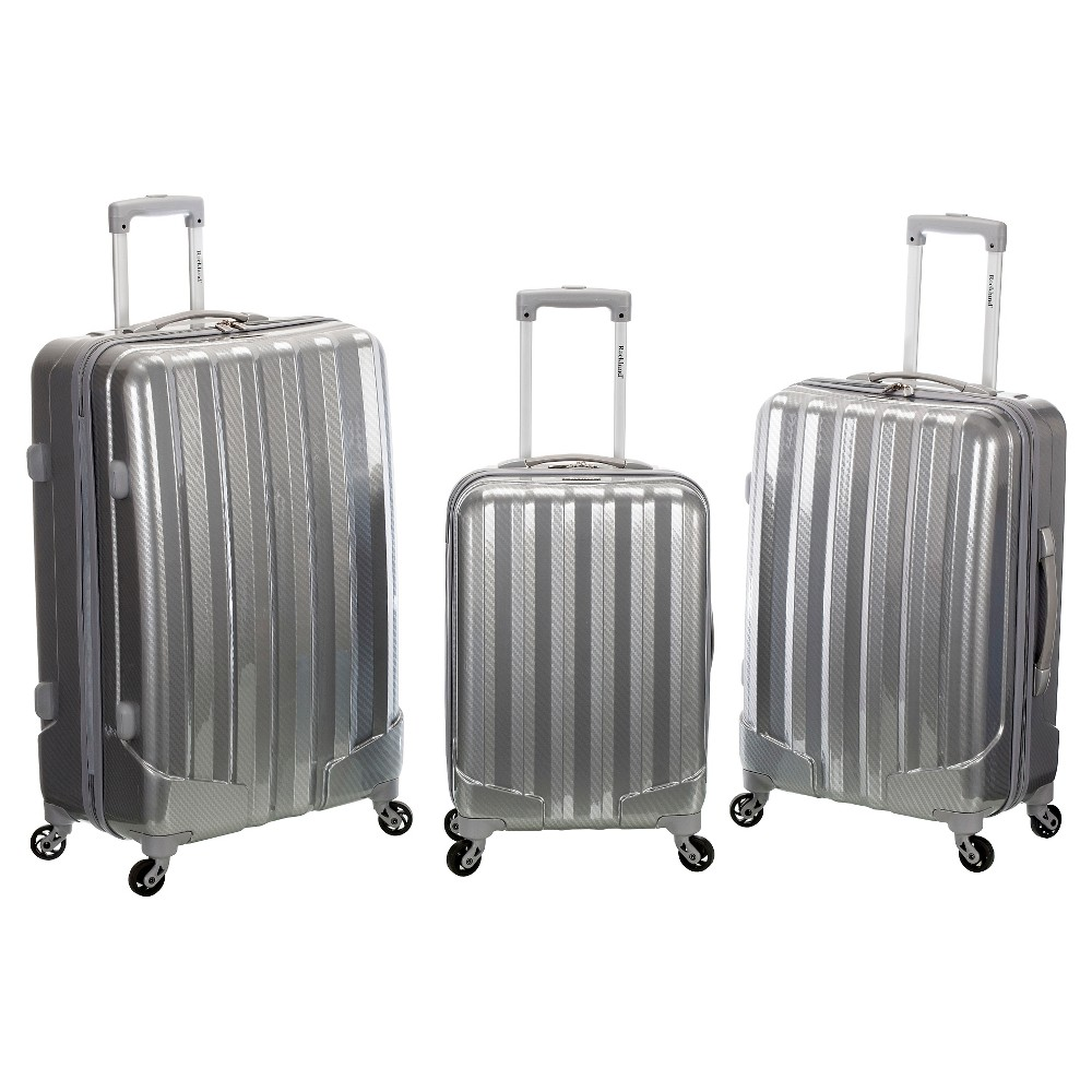 Rockland Santa Fe 3pc Polycarbonate/Abs Upright Set - Metallic, Silver