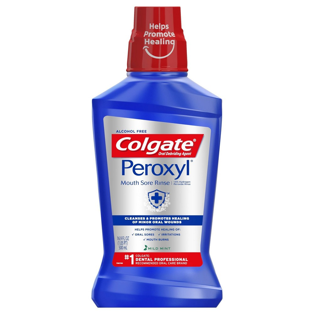 Image of Colgate Peroxyl Mouth Sore Rinse Mild Mint - 16.9 fl oz