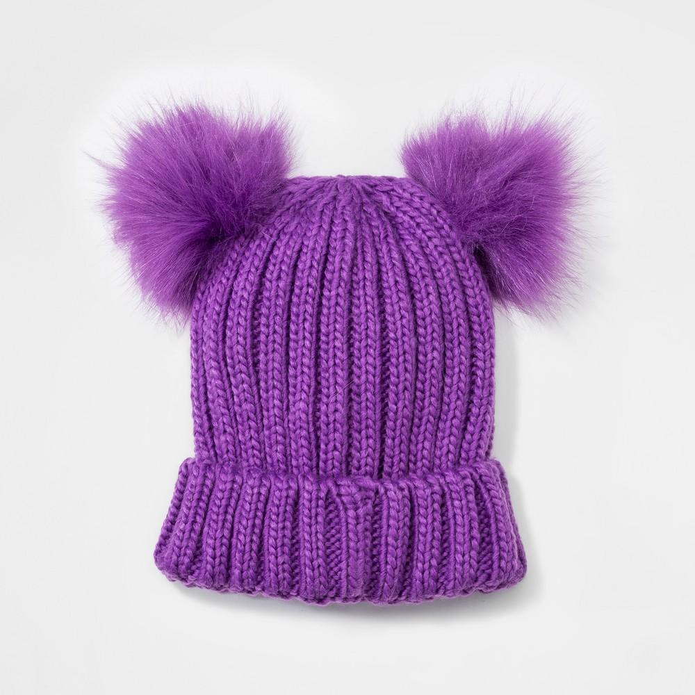Girls' Faux Fur Pom Beanie - Cat & Jack Purple One Size