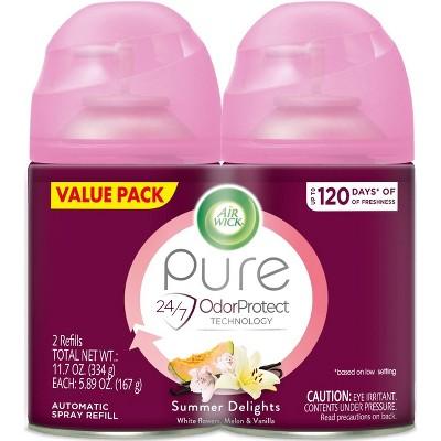 Air Wick Freshmatic Ultra - Twin Refill Essential Oils Summer Delights (White Flowers/Melon/Vanilla) - 6.17oz/2ct