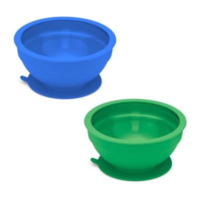 14.8oz 2pk Silicone and Glass Suction Bowl Set Dark Blue/Dark Green - Brinware