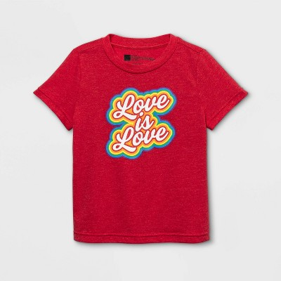 Pride Gender Inclusive Toddler's 'Love is Love' Short Sleeve Graphic T-Shirt - Red