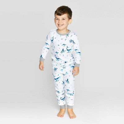 Burt's Bees Baby® Toddler Boys' Whales Organic Cotton Pajama Set - Gray 5T
