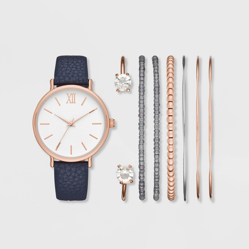 Image of Women's Roman Strap Watch Set - A New Day Rose Gold/Navy, Size: Small, Pink Blue