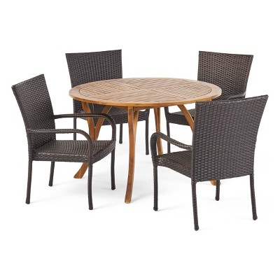 Collins 5pc Acacia Wood & Wicker Dining Set - Teak/Brown - Christopher Knight Home