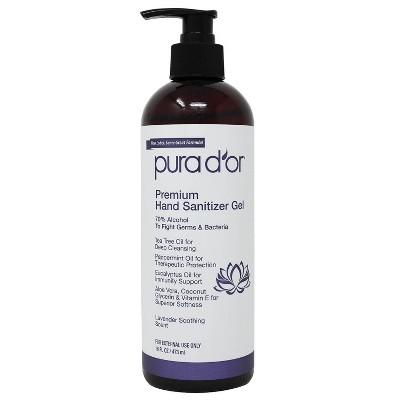 Pura d'or Premium Hand Sanitizer Gel - Lavender - 16 fl oz