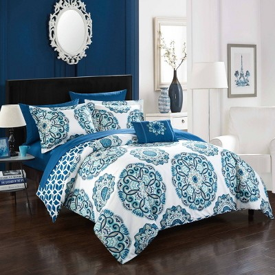 King 8pc Catalonia Bed In A Bag Comforter Set Blue - Chic Home Design