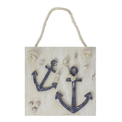 """Northlight 7"""" Cape Cod Inspired Double Anchor Wall Hanging Plaque with Seashells"""