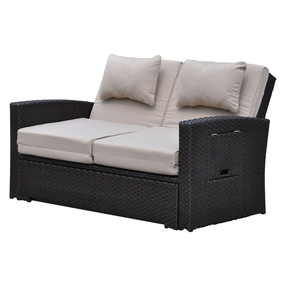 Miranda Outdoor Loveseat To Daybed Combo with Cushions - Taupe (Brown) - Courtyard Casual