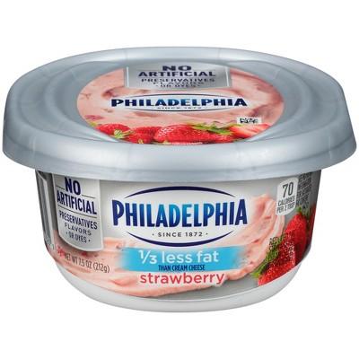 Philadelphia Reduced Fat Strawberries Cream Cheese Tub - 7.5oz