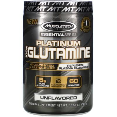 Muscletech Essential Series, Platinum 100% Glutamine, Unflavored, 5 g, 10.58 oz (300 g), Sports Nutrition Supplements, Powder