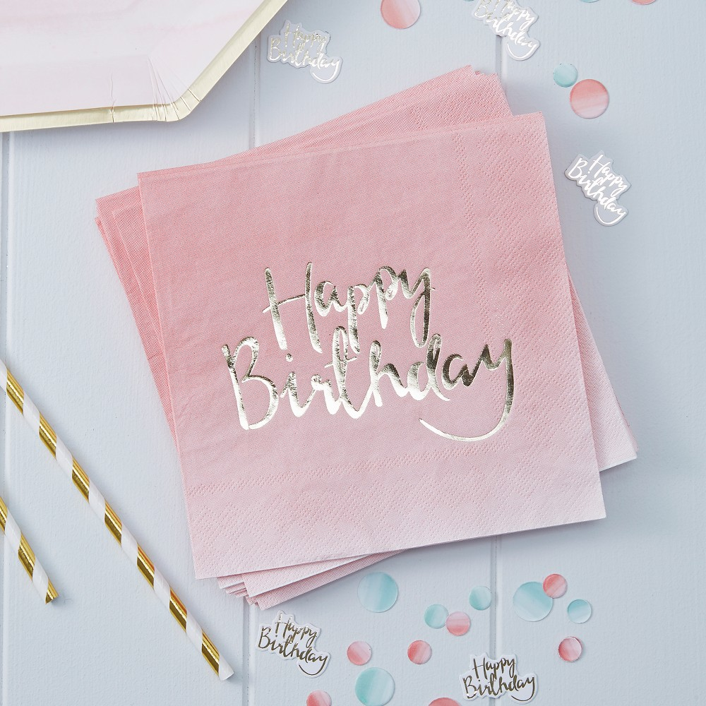 Image of 20ct Ginger Ray Pink Happy Birthday Paper Napkins Pick And Mix