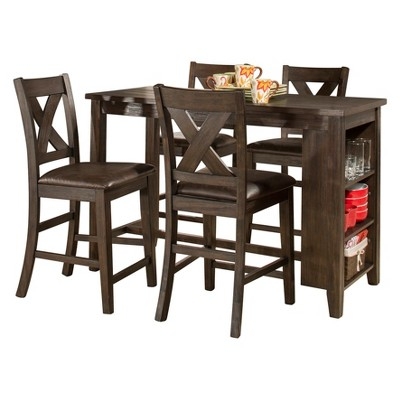 Spencer Five Piece Counter Height Dining Set With X Back Counter Height Stools Wood Dark Espresso/Brown Faux Leather - Hillsdale Furniture