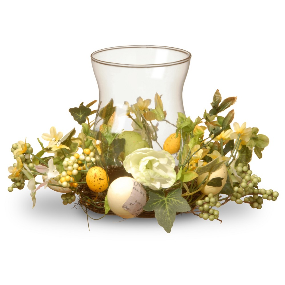 "Image of ""10"""" Hurricane Candle Holder with Eggs - National Tree Company, White Yellow Green"""