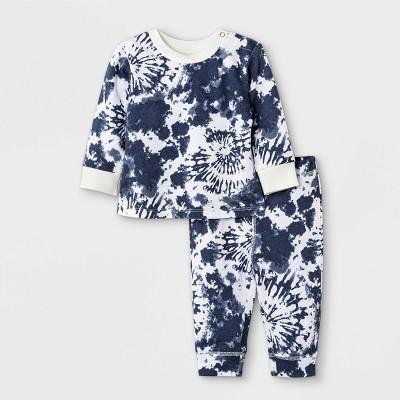 Grayson Mini Baby French Terry Tie-Dye Sweatshirt & Bottom Set - White