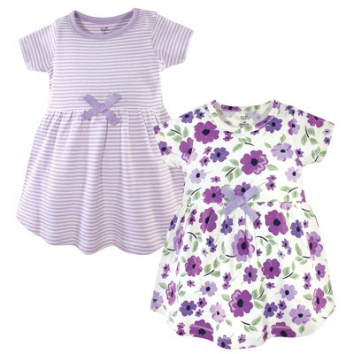 Touched by Nature Baby and Toddler Girl Organic Cotton Short-Sleeve Dresses 2pk, Purple Garden