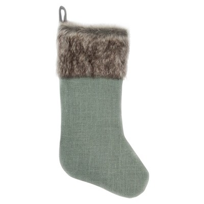 "Northlight 20"" Green Burlap Christmas Stocking with Faux Fur Cuff"