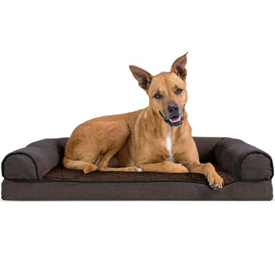 FurHaven Faux Fleece & Chenille Orthopedic Sofa Dog Bed