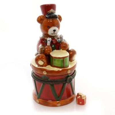 "Hinged Trinket Box 4.5"" Bear & Drum Christmas Teddy Present  -  Decorative Figurines"