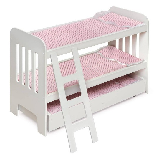 Badger Basket Trundle Doll Bunk Bed with Ladder and Free Personalization Kit - White/Pink image number null
