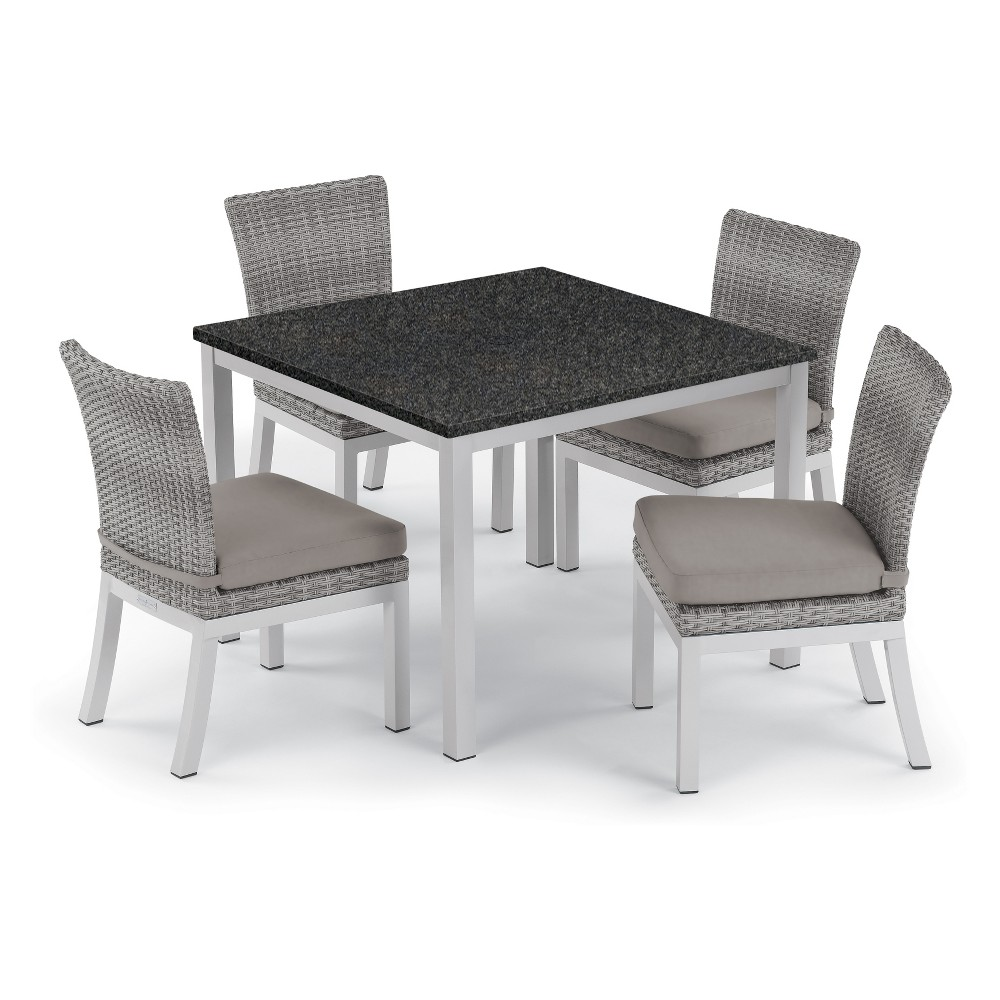 5pc Travira 39 Charcoal Dining Table & Argento Side Chair Set Gray Cushions - Oxford Garden
