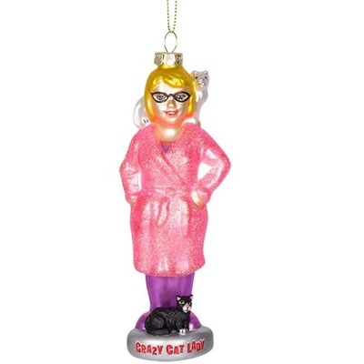 Accoutrements Crazy Cat Lady Glass Holiday Ornament