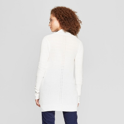 Women s Long Sleeve Ribbed Cuff Cardigan - A New Day™ White XL   Target bcf79333f