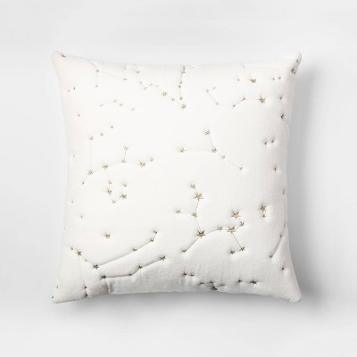Embroidered Velvet Constellation Square Throw Pillow White - Room Essentials™